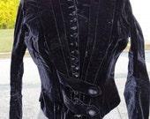 Womans Antique Victorian Black Velvet Velour Short Jacket Bolero With Stays  LP Hollander & Co Boston