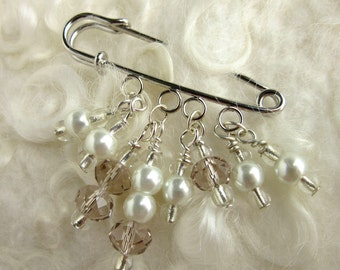 White Shawl Pin- Sweater Pin - Beaded Brooch - Crystal and Pearl