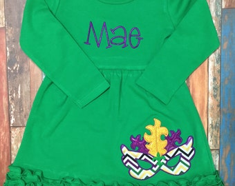 Custom Mardi Gras Dress in Green