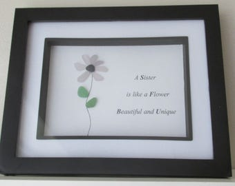 Thank You Sister Gift, Flower Art, Sister Art, Sea Glass Art, Flower for Sister, Gift for Sister, Wall Hanging, Desk Art, Sisters