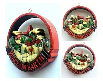 Hallmark 1975 Ornament, Peace on Earth Ornament, Vintage Hallmark Keepsake Ornament, 2 Sided Hallmark Ornament, Rustic Christmas Ornament