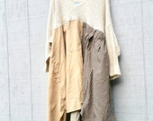 oversized sweater dress cotton fall winter tunic upcycled romantic Upcycled clothing Patchwork Eco Dress / Artsy Dress by CreoleSha