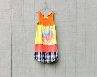 Tank Dress, Upcycled Clothing, Tshirt Tunic, Bright, Colorful, Summer Dress, Festival Clothing, Tie Dye, Plaid, Orange, Recycled, Reclaimed