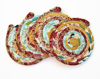 Scrappy Coasters Set of 4 - Red Turquoise Yellow - Coiled Fabric Coasters - Clothesline Coaster Set - Quiltsy Handmade
