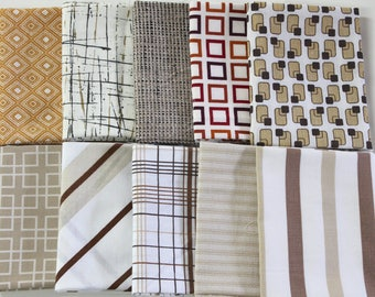 Vintage bed sheet Fat Quarter set 10 reclaimed bed linen fat quarters quilting fabric retro mod neutral brown tan geometric stripe fabric