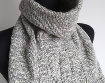 Pure Wool Soft Yarn Light Gray White Melange Color Women Men Knitted Cables Turtleneck Collar Dickey Gaiter Cowl