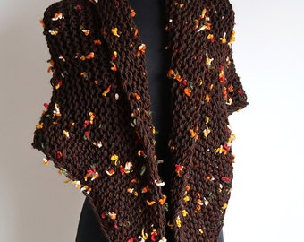 Thousand Flowers Light Brown Color Chunky Knitted Shawl Stole Wrap with Tassels
