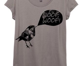 Funny bird Shirt - Womens Origin Cotton Modal T-Shirt - Grey, Small, Medium, Large, XL