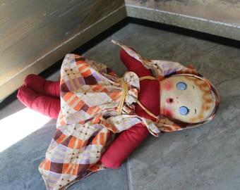 Cloth Girl Doll - 1940s 1950s - Handmade  Stuffed with Straw - Peasant Handkerchief Scarf Dirndl Skirt