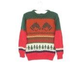 SALE Kids Novelty Sweater * Vintage Knit Pullover * Child's Horse Hearts Jumper * size 8 / 10