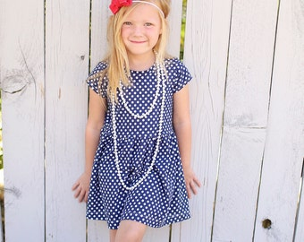 Play dress | Navy Polka Dots | Sizes 3 Months to 7/8 | 2 Sleeve Options | dress, girls dress, baby girl dress, baby dress
