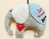 Baby's first christmas, elephant ornament