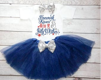Fourth of july baby girl outfit Fourth of july hair bow Baby 4th of july My first 4th Hairbow Firework kisses july wishes