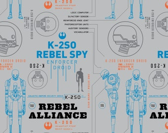 Star Wars- K-2S0 in Light Grey-  your choice of cut