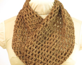 "Wool Cowl - Natural Dye - Local Color- Walnut Willow - Crochet - Eco Fashion - WF161144 - 9""x36"" (23x91cm)"