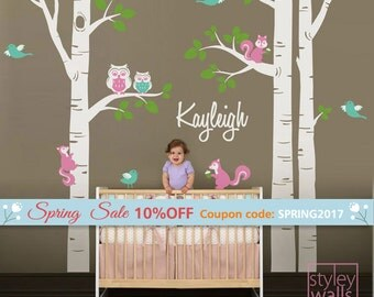 Birch Trees Wall Decal for Nursery, Birch Trees and Personalized Name Decal, Forest Animals Owls Squirrels Birds Baby Room Decor Wall Decal