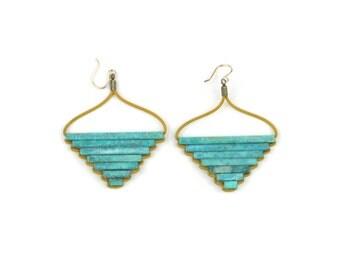 Teocalli Large Pyramid Earrings - Green Patina