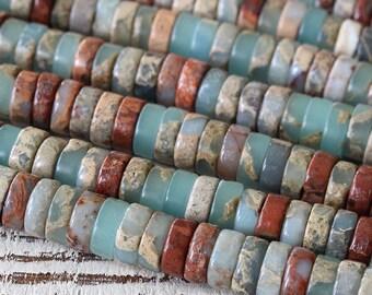 African Opal Beads - 8mm Heishi Beads - Jewelry Making Supply - Gemstone Heishi - Aqua Terra Jasper Beads - Choose Amount