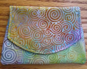 Multi Colored Swirls Small Batik Wallet