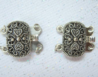 Antiqued silver filigree two strand pinch box clasp, lot of (2) - BD300