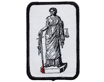Lady Justice Iron On Patch. Sword and Scale with blood woven patch. Lustitia badge.
