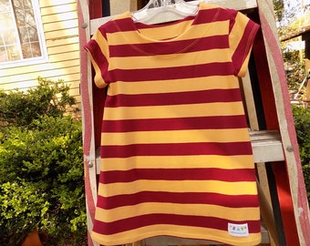 Garnet and Gold Striped T Shirt Dress  Size 2   Ready to Ship