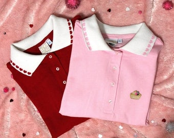 SALE Kawaii Decorative Heart or Cherry Collar Patch Polo - Pink and Red Custom Made