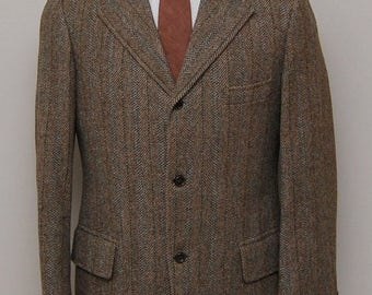 SALE 1960s men's brown herringbone stripe tweed blazer/ 60s men's herringbone tweed blazer/ Custom