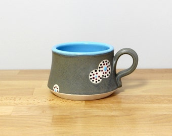 SALE! Handmade Pottery Teacup, Ceramic Teacup, Small Stoneware Mug, Modern Coffee Cup, Teacup, Modern Kitchen Drinkware in Blue and Gray