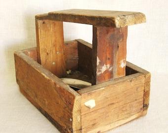 Antique Wooden Shoeshine Box, Primitive Shoe Shine, Rustic, Handmade, Folk Art, Storage, Organization, Footwear Care, Shoe Box
