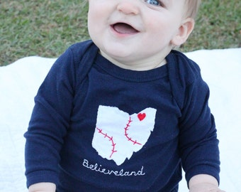 """Cleveland Indians, """"Believeland"""" Tribe Love, State of Ohio bodysuit with BASEBALL stitches and heart on cleveland, new father's day gift"""