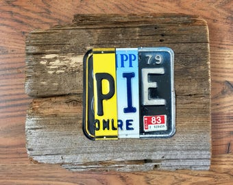 PIE license plate sign tomboyART art recycled upcycled SOUL FooD pig BBQ Mississippi blues