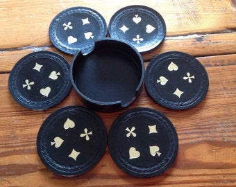 Vintage coasters-poker game coaster set-party housewarming gift-Round Black Leather Coasters in holder-valentine Gift-european poker gift