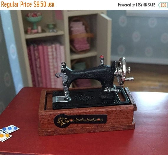 SALE Miniature Black Table Top Sewing Machine With Opening Wood Box Stand and Sewing Accessories, Dollhouse Miniature, 1:12 Scale