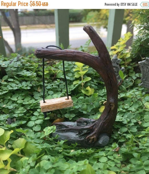 SALE Miniature Fairy Garden Swing on Tree, Fairy Garden Accessory, Miniature Garden Decor, Topper, Mini Gardening, Tree Swing