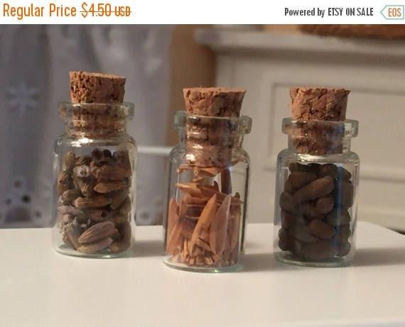 SALE Miniature Food Jars, Filled Glass Jars, Set of 4, Style D1079, Dollhouse Miniatures, 1:12 Scale, Miniature Food, Kitchen Accessory, Dec