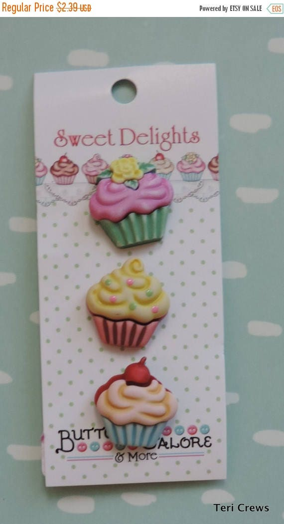 SALE Cupcake Buttons, Sweet Delights Collection by Buttons Galore, Carded 3 Buttons, Bright Colors