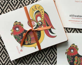 Year of the Rooster Thank You Notes - Lunar New Year - Birthday - Gift