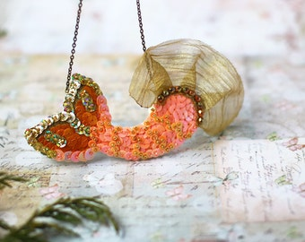 Mermaid Tail Necklace, Peach Gold Sequins, Fish Scale Tail, Nautical Ocean Jewelry, Sparkle Sequin Embroidery, Statement Big Kawaii Necklace
