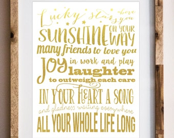 CLEARANCE - Irish Blessing - Nursery Art - Lucky Stars Above You - Gold Foil - Typography - Nursery Decor - Home Decor - Spiritual Art