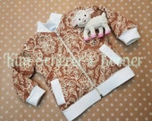 Burlap and Lace Children's Bomber Jacket - 18 Months - Ready to Ship