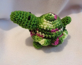 Crochet Turtle, Stuffed Animal Tortoise, Green and Fuchsia Turtle Toy, Gift for New Baby, Nursery Decor, Turtle Collector Present