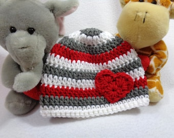 Valentines Day Baby Hat, Crochet Red, Gray and White Cap, MADE TO ORDER by Charlene, Red Heart, Valentines Day Photo Prop, Twins or Triplets