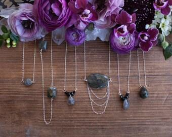Labradorite Necklace // Sterling Silver Chain // Labradorite and Silver // Faceted Gemstone // Gemstone Necklace // Galaxy Stone //