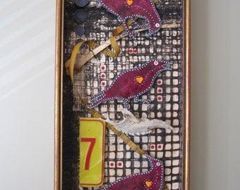 Mixed media assemblage, 3D art, shadow box, creepy bird art