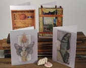 Blank Note Card Set of Four with Foundturtle images, fine art reproduction greeting cards, affordable art, mixed media collage, mystical art