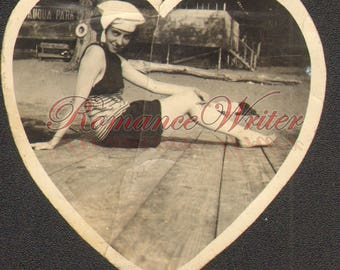 Sexy Young Girl Romper Hat Vintage Photo Heart Shaped Seductive Smile