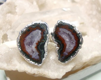 Geode Halves Silver Dipped Ear Stud, Natural Mexican Tobasco Agate Half Geode Earrings, S3