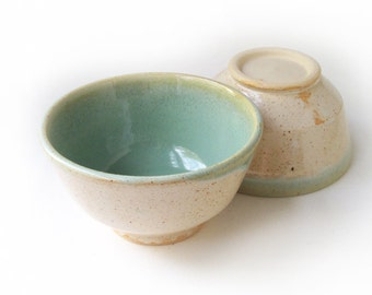 Pair White and Green Bowls