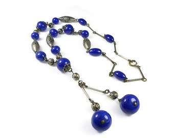 Art Deco Blue Glass Silver Metal Sautoir Necklace - Cobalt Blue, Glass Bead, Silver, Pierced Beads, Art Deco Jewelry, Antique Jewelry